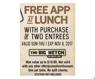 Free appetizer at lunch with purchase of two entrees.