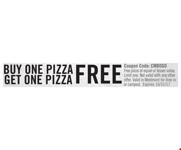 Buy One Pizza Get One Pizza Free