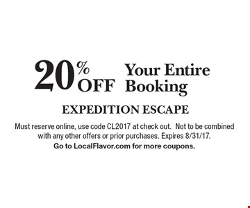 20% Off Your Entire Booking. Must reserve online, use code CL2017 at check out.Not to be combined with any other offers or prior purchases. Expires 8/31/17.Go to LocalFlavor.com for more coupons.