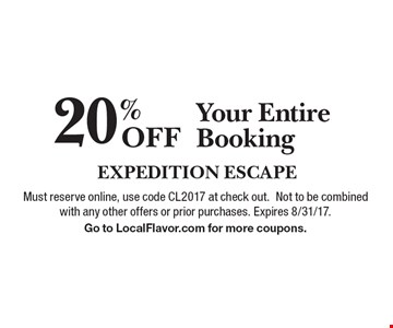 20% Off Your Entire Booking. Must reserve online, use code CL2017 at check out. Not to be combined with any other offers or prior purchases. Expires 8/31/17. Go to LocalFlavor.com for more coupons.