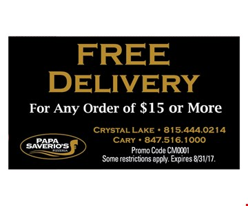 Free Delivery w/any order of $15 or more