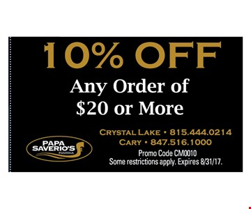10% OFF ANY ORDER OF $20 OR MORE