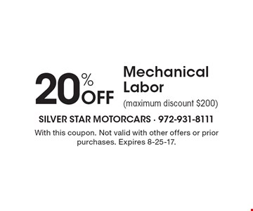 20% Off Mechanical Labor (maximum discount $200). With this coupon. Not valid with other offers or prior purchases. Expires 8-25-17.Go to LocalFlavor.com for more coupons.