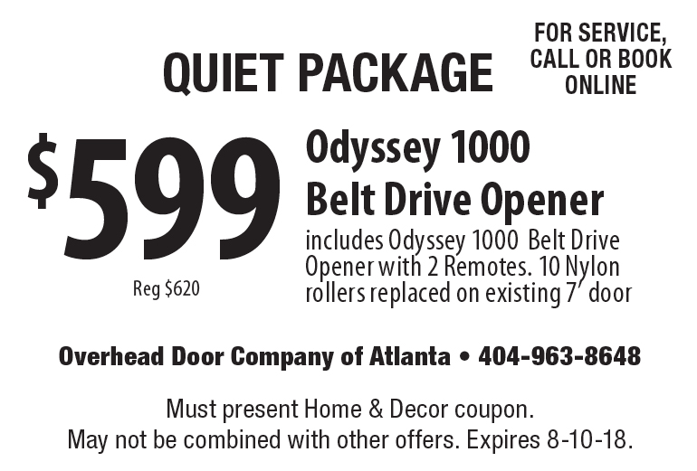 Overhead Doors Of Atlanta: Quiet Package $599 Reg $620 Odyssey 1000 Belt  Drive Opener Includes