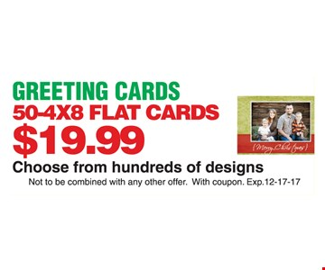 Flat greeting cards for $19.99.