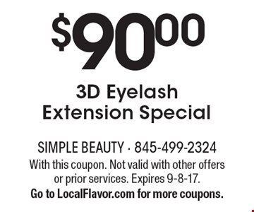 $90.00 3D Eyelash Extension Special. With this coupon. Not valid with other offers or prior services. Expires 9-8-17. Go to LocalFlavor.com for more coupons.