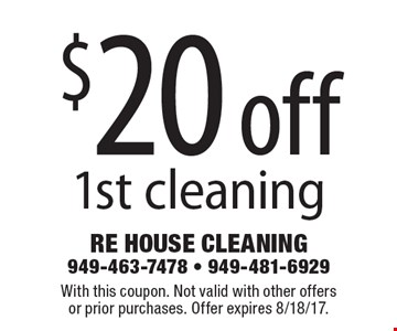 $20 off 1st cleaning. With this coupon. Not valid with other offers