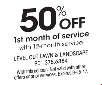50% off 1st month of service with 12-month service. With this coupon. Not valid with other offers or prior services. Expires 9-15-17.