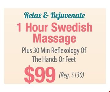 $99 1 hour swedish massage