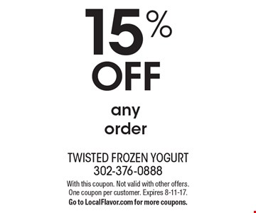 15% OFF any order. With this coupon. Not valid with other offers. One coupon per customer. Expires 8-11-17. Go to LocalFlavor.com for more coupons.