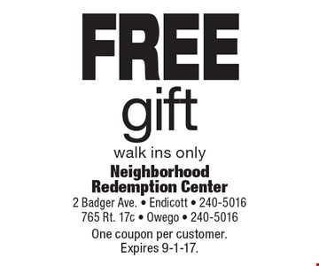 FREE gift walk ins only. One coupon per customer. Expires 9-1-17.