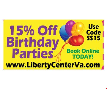 15% OFF Birthday parties