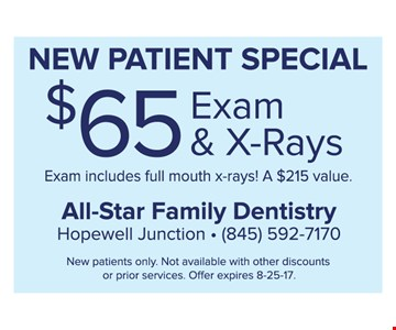 $65 exam & x-rays, new patient special