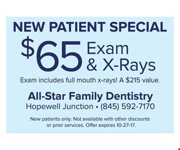 $65 Exam & X-Rays