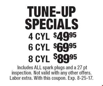 Tune-up specials $49.95 4 cyl., $69.95 6 cyl., $89.95 8 cyl.. Includes all spark plugs and a 27 pt inspection. Not valid with any other offers. Labor extra. With this coupon. Exp. 8-25-17.