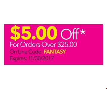 $5.00 Off For Orders Over $25