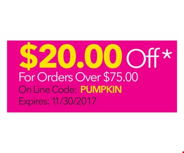 $20 Off For Orders Over $75
