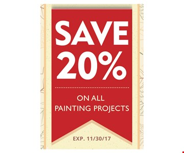 Save 20% on all painting projects