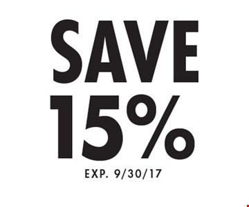 Save 15%. Exp. 9/30/17.