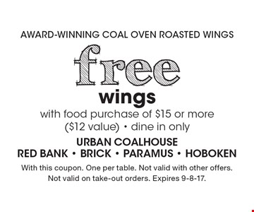 Free wings with food purchase of $15 or more ($12 value). Dine in only. With this coupon. One per table. Not valid with other offers. Not valid on take-out orders. Expires 9-8-17.