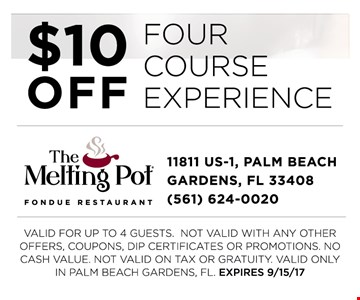 $10 off four course experience
