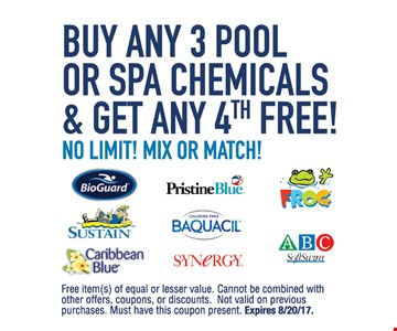 Buy Any 3 pool or Spa Chemicals and Get Any 4th free