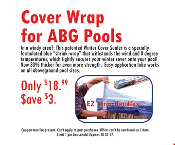 Save $3 Cover Wrap for ABG Pools