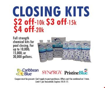 $2 to $4 Off Closing Kits