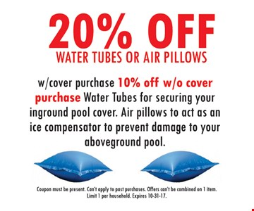 20% Off Water Tubes or Air Pillows