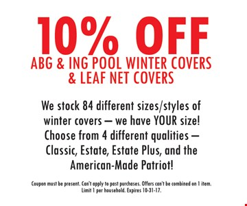 10% Off ABG and ING Pool Winter Covers and Leaf Net Covers