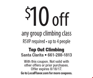 $10 Off Any Group Climbing Class. RSVP required. Up to 4 people. With this coupon. Not valid with other offers or prior purchases. Offer expires 8/18/17. Go to LocalFlavor.com for more coupons.
