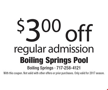 $3.00 off regular admission. With this coupon. Not valid with other offers or prior purchases. Only valid for 2017 season.