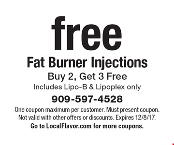 Free Fat Burner Injections - Buy 2, Get 3 Free, Includes Lipo-B & Lipoplex only. One coupon maximum per customer. Must present coupon. Not valid with other offers or discounts. Expires 12/8/17. Go to LocalFlavor.com for more coupons.