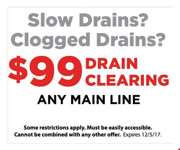 Slow Drains ? Clogged drains ? $99 Drain cleaning any main line
