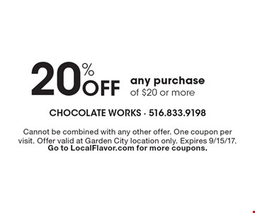 20% Off any purchase of $20 or more. Cannot be combined with any other offer. One coupon per visit. Offer valid at Garden City location only. Expires 9/15/17. Go to LocalFlavor.com for more coupons.