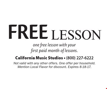FREE Lesson. One free lesson with your first paid month of lessons. Not valid with any other offers. One offer per household. Mention Local Flavor for discount. Expires 8-18-17.