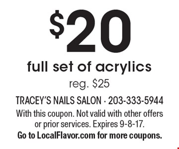 $20 full set of acrylics. Reg. $25. With this coupon. Not valid with other offers or prior services. Expires 9-8-17. Go to LocalFlavor.com for more coupons.
