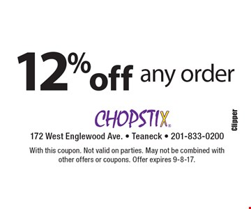12% off any order. With this coupon. Not valid on parties. May not be combined with other offers or coupons. Offer expires 9-8-17.