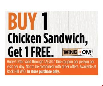 Buy 1 chicken sandwich get 1 free