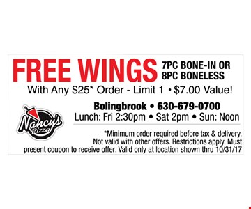 free wings with purchase