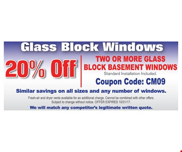 20% Off Two or More Glass Block Basement Windows