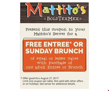 Free Entree or Sunday Brunch