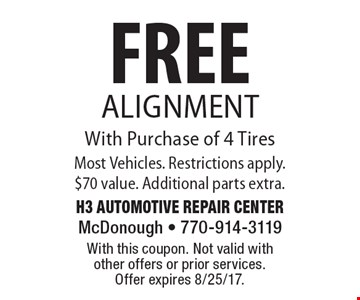 FREE Alignment With Purchase of 4 Tires Most Vehicles. Restrictions apply. $70 value. Additional parts extra.. With this coupon. Not valid with other offers or prior services. Offer expires 8/25/17.