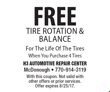 FREE Tire Rotation & Balance For The Life Of The Tires When You Purchase 4 Tires. With this coupon. Not valid with other offers or prior services. Offer expires 8/25/17.