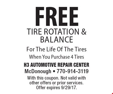FREE Tire Rotation & Balance For The Life Of The Tires When You Purchase 4 Tires. With this coupon. Not valid with other offers or prior services. Offer expires 9/29/17.