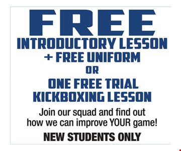 Free Introductory Lesson Plus Uniform Or One Free Trial Kickboxing Lesson