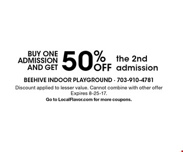 buy one admission and get 50% OFF the 2nd admission. Discount applied to lesser value. Cannot combine with other offer. Expires 8-25-17.Go to LocalFlavor.com for more coupons.
