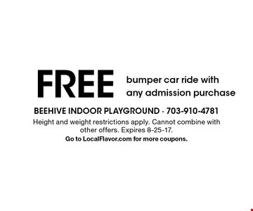 FREE bumper car ride with any admission purchase. Height and weight restrictions apply. Cannot combine with other offers. Expires 8-25-17.Go to LocalFlavor.com for more coupons.