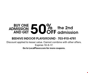 Buy one admission and get 50% off the 2nd admission. Discount applied to lesser value. Cannot combine with other offers. Expires 10-6-17. Go to LocalFlavor.com for more coupons.