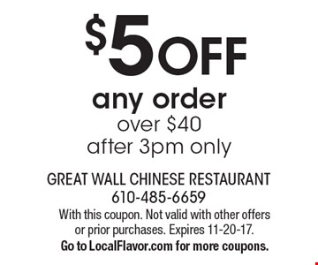 $5 OFF any order over $40. after 3pm only. With this coupon. Not valid with other offers or prior purchases. Expires 11-20-17. Go to LocalFlavor.com for more coupons.